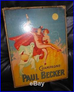 Carton publicitaire champagne Paul Becker 1920's