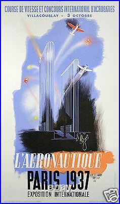 Chem Affiche Ancienne L'aeronautique Exposition Internationale Paris 1937