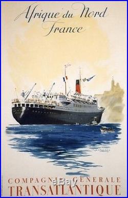 Cie Gle TRANSATLANTIQUE Affiche originale entoilée 1952 CHAPELET 66x103cm