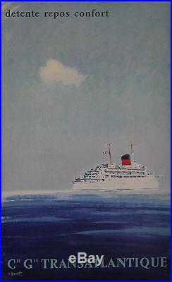 Cie Gle TRANSATLANTIQUE Affiche originale entoilée (Litho BRENET 1950)