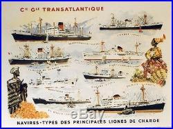 Cie Gle TRANSATLANTIQUE Affiche originale entoilée années 50 BRENET 69x54cm