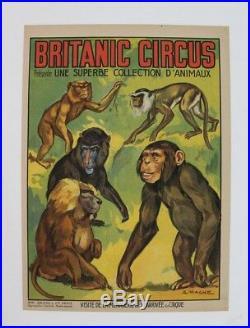 Cirque Affiche Originale Britanic Circus 5 Singes Monkeys A. Magne Litho