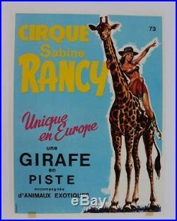 Cirque Affiche Originale Circus Poster Sabine Rancy Girafe