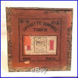 Coffret caissette surprise thé Chaffanjon et Cie 1910 + thèière et coupes Tonkin