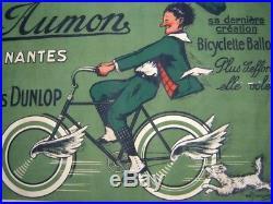 Cycles AUMON Nantes Pneu DUNLOP Rare Affiche signée M. Jacquier années 1930