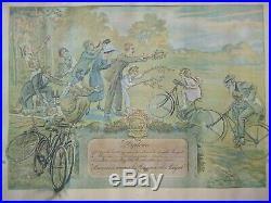 Cycles Peugeot rare diplôme du plus vieux vélo daté 1921 affiche par M. Neumont