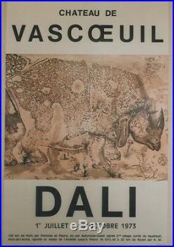 DALI EXPOSITION CHATEAU DE VASCOEUIL 1973 Affiche originale entoilée