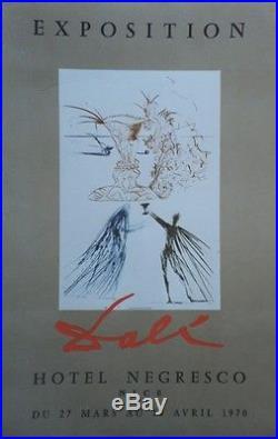 DALI EXPOSITION HÔTEL NEGRESCO 1970 Affiche originale entoilée