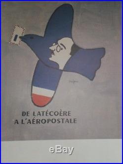 DE LATECOERE A L'AEROPOSTALE Affiche originale entoilée SAVIGNAC 1998 53x69cm