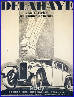 DELAHAYE Affiche entoilée Ressortie typo épuisée René RAVO 1928 65x84cm