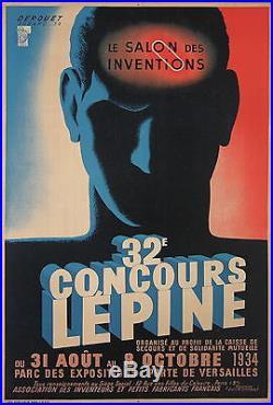 DEROUET AFFICHE ART DECO 32 eme CONCOURS LEPINE SALON DES INVENTIONS 1934