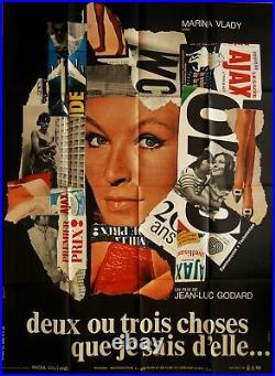 DEUX OU TROIS CHOSES QUE JE SAIS D'ELLE. Jean-Luc GODARD Affiche Originale