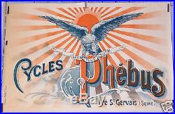 DIDOT AFFICHE ANCIENNE CYCLES PHEBUS PRÉ ST GERVAIS VINTAGE LITHO POSTER ci1900