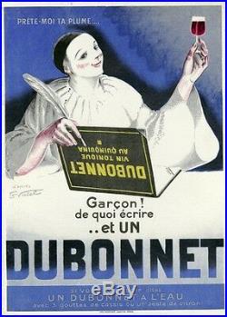 DUBONNET Affiche d'intérieur orig. Entoilée Litho VIRTEL vers 1920 (PIERROT)