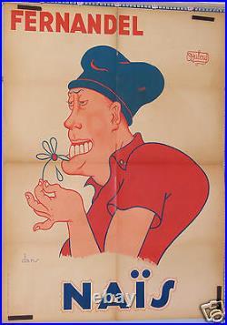 Dubout Affiche Ancienne Film Fernandel Dans Naïs 1945