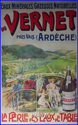 EAUX MINERALES du VERNET Affiche originale entoilée Litho monogramme 1904