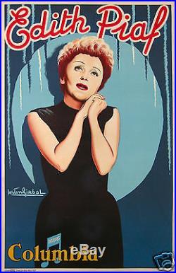 EDITH PIAF MUSIC HALL AFFICHE ANCIENNE LITHO par GIRBAL CIRCA 1950-55