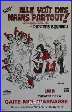 ELLE VOIT DES NAINS PARTOUT Affiche originale entoilée GOTLIB 1978