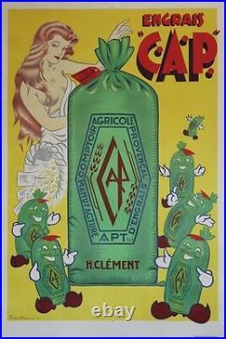ENGRAIS C. A. P. APT Affiche originale entoilée Litho Fernand BOURGEOIS 1955