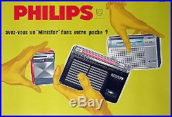ERIC AFFICHE ANCIENNE RADIO TRANSISTOR PHILIPS MINISTOR Ci 1950-1960