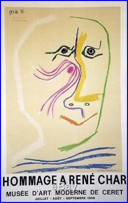 EXPO HOMMAGE à René CHAR / PICASSO 1969 Affiche originale entoilée (3000 ex.)