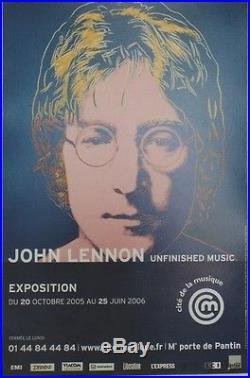 EXPO John LENNON (BEATLES) Affiche originale entoilée Andy WARHOL 43x65cm
