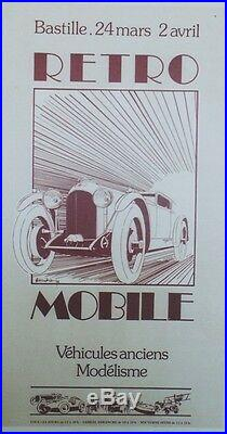 EXPO RETRO MOBILE 1978 Affiche originale entoilée Offset A. MOITRIER 37x67cm