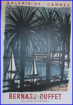 EXPOSITION BERNARD BUFFET / CANNES 60 Affiche originale entoilée Litho 57x82cm
