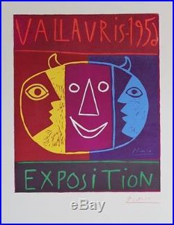 EXPOSITION PICASSO VALLAURIS 1956 Linogravure originale entoilée 69x103cm