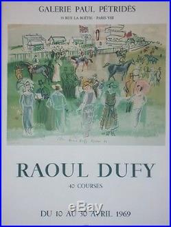 EXPOSITION RAOUL DUFY / 40 COURSES Affiche originale entoilée Litho 57x77cm