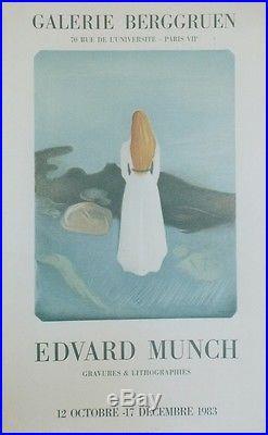 Edvard MUNCH EXPO GALERIE BERGGRUEN 1983 Affiche originale entoilée MOURLOT