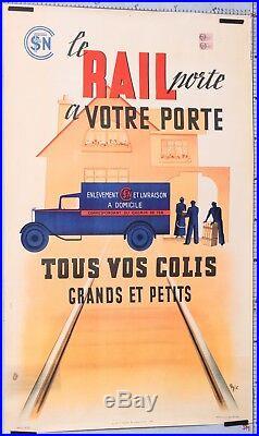 Eric 1939 Affiche Ancienne Sncf Le Rail A Votre Porte Tous Vos Colis A Domicile