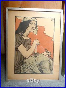 Eugène Grasset. Affiche avant la lettre pour exposition A. Falguière. 1898