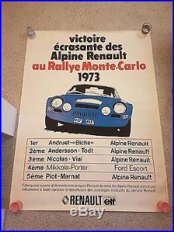 Exceptionnel affiches originale 42eme rallye de Monte-Carlo Alpine Renault 1973