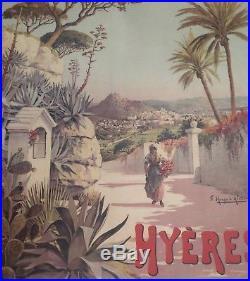 F. Hugo D'alési Grande Affiche Originale 1895 Plm Hyeres Origal French Print