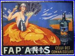 FAP'ANIS Affiche originale entoilée Litho DELVAL vers 1925 163x124cm
