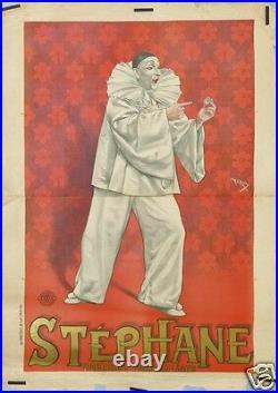 FARIA AFFICHE ANCIENNE STEPHANE PIERROT FANTAISISTE CLOWN MIME ci 1895 1900