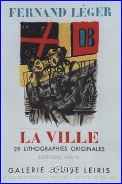 FERNAND LEGER LA VILLE Affiche originale entoilée Litho MOURLOT 1959