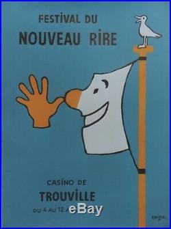 FESTIVAL du NOUVEAU RIRE TROUVILLE 1990 Affiche originale entoilée SAVIGNAC