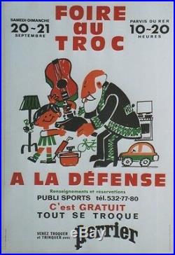 FOIRE AU TROC A LA DEFENSE 1980 / PERRIER Affiche entoilée (Alain CARRIER)