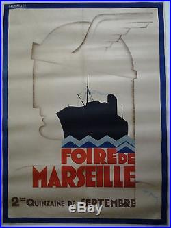 FOIRE DE MARSEILLE années 20 AFFICHE ORIGINALE ANCIENNE/86a