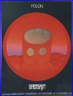 FOLON 1973 / L'EXPRESSION Affiche sérigraphie originale encadrée