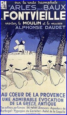 FONTVIEILLE MOULIN d' ALPHONSE DAUDET Affiche originale entoilée (Léo LELEE)