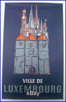 Franz Kinnen Ville De Luxembourg Affiche Originale Circa 1950