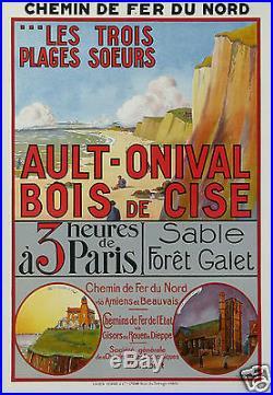 Froideval Affiche Ancienne Ault Onival Bois De Cise Trains Chemin De Fer Du Nord