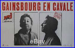 GAINSBOURG EN CAVALE Affiche originale entoilée Photo Gilles Cappé 1987