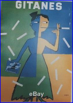 GITANES Affiche originale entoilée Offset SAVIGNAC 1995 44x60cm