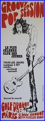 GOLF DROUOT / GROOVY POP SESSION Affiche originale entoilée J. LANGEVINE 1971