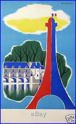 GUY GEORGET AFFICHE ANCIENNE FRANCE PARIS CHATEAUX DE LA LOIRE TOUR EIFFEL 1959