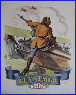 GUYNEMER 1894 1917 Affiche originale entoilée Litho Raoul AUGER 1943